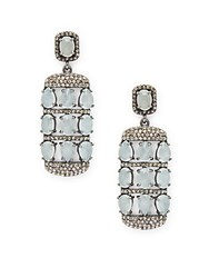 Bavna Diamond Aquamarine And Sterling Silver Earrings