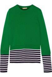 Michael Kors Collection Layered Striped Jersey And Cotton And Cashmere Blend Sweater Green