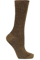 Isabel Marant Lily Ribbed Metallic Knitted Socks Gold