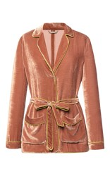 Alberta Ferretti Velvet Jacket With Color Contrast Trim Brown