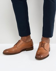 Zign Leather Brogue Lace Ups In Cognac Brown