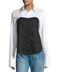 Tibi Satin Poplin Bustier Shirt White Black Mu