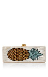 Edie Parker Flavia Pineapple Clutch Off White