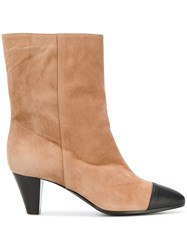 Via Roma 15 Contrast Toe Boots Nude And Neutrals