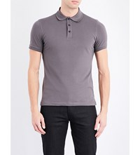Armani Collezioni Cotton Pique Polo Shirt Grey