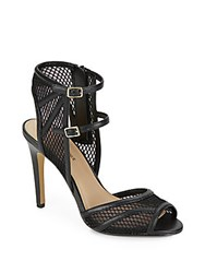 Saks Fifth Avenue Riva Double Strap Mesh Sandals Black