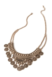 Forever 21 Etched Coin Bib Necklace Antic Gold