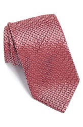 Boss Men's Geometric Woven Silk Tie Red