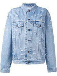 Forte Couture Sequin Slogan Denim Jacket Women Cotton Xs Blue