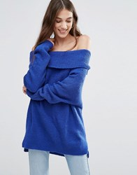 Daisy Street Off Shoulder Jumper Blue