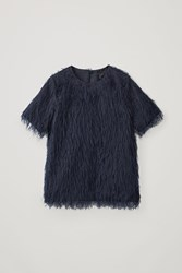 Cos Feathered Short Sleeved Top Blue