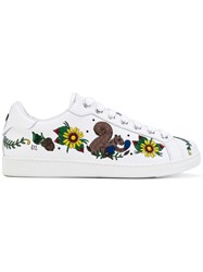 Dsquared2 Embroidered Tennis Club Sneakers Men Calf Leather Lamb Skin Elastodiene 41.5 White