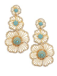 Azaara Cubic Zirconia Flower Drop Earrings No Color