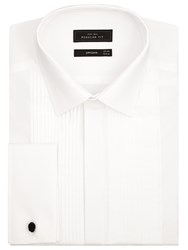 John Lewis Pleated Front Point Collar Double Cuff Dress Shirt White