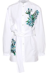 Jonathan Saunders Alex Embroidered Cotton Poplin Shirt