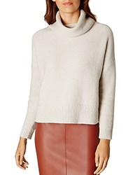 Karen Millen Boxy Roll Neck Sweater Pale Gray