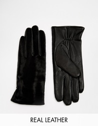 Whistles Pony Front Leather Glove Black