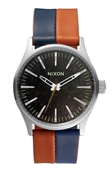 Nixon 'The Sentry 38' Leather Strap Watch 38Mm Dark Copper Navy Saddle