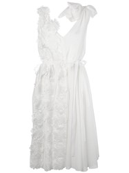 Rochas Floral Applique Belted Dress White