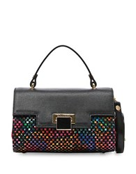 Braccialini Collection Linda Printed Crossbody Saffiano Leather Handbag Black Multi