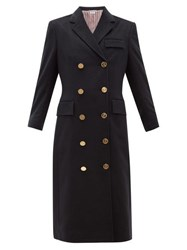 Thom Browne Double Breasted Tricolour Trim Cashmere Coat Navy