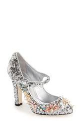 Dolcegabbana Embellished Mary Jane Pump Women Silver