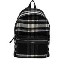 Saint Laurent Black And Off White Wool Check City Backpack