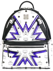 Mcm Contrast Printed Backpack White