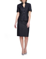 Tahari By Arthur S. Levine Stand Collar Short Sleeve Jacket Skirt Suit Denim Blue