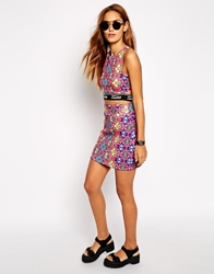 Jaded London Mini Skirt In Festival Jewel Print Co Ord Pink