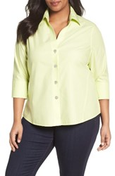 Foxcroft Plus Size Women's 'Paige' Non Iron Cotton Shirt Honeydew