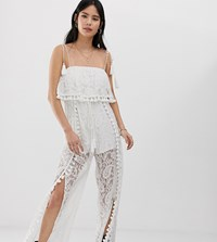 Kiss The Sky Split Leg Jumpsuit In Lace With Tassle Detail White