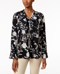 Charter Club Floral Print Tie Neck Blouse Only At Macy's Deep Black Combo