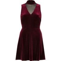 River Island Womens Dark Red Velvet Choker Mesh Skater Dress