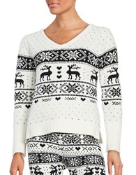 Betsey Johnson Patterned Knit Sweater White