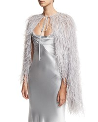 Monique Lhuillier Silver Feather Cape
