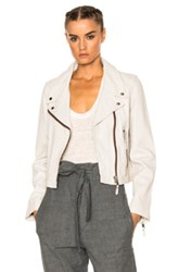 Etoile Isabel Marant Aken Washed Leather Jacket In White Gray White Gray