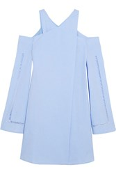 Zeus Dione Anemone Cold Shoulder Wrap Effect Cotton Poplin Mini Dress Sky Blue