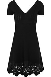 Red Valentino Redvalentino Embroidered Knitted Mini Dress Black
