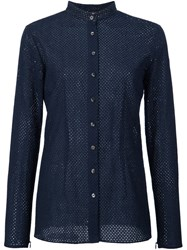 Sophie Theallet Perforated Manadarin Collar Shirt Blue