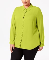 Ny Collection Plus Size Scalloped Blouse Limeade