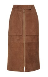 Yves Salomon Paris Suede Leather Skirt Brown
