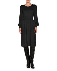 Agnona Knit Bell Sleeve Merino Wool Dress Black
