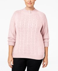 Karen Scott Plus Size Cable Knit Mock Neck Sweater Only At Macy's Blush