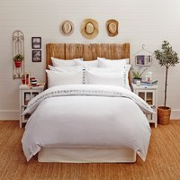 Lexington Poplin Duvet With Embroidery White Grey King