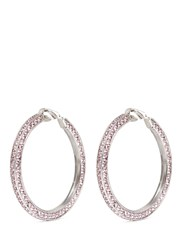 Kenneth Jay Lane Crystal Pave Hoop Clip Earrings Pink