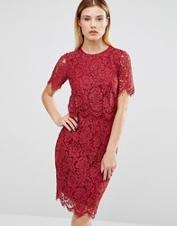 Club L Lace Detail Overlay Midi Scallop Dress Berry Red