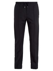 Valentino Pintucked Wool Blend Trousers Navy