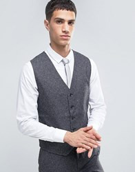 French Connection Charcoal Fleck Slim Fit Suit Waistcoat Grey