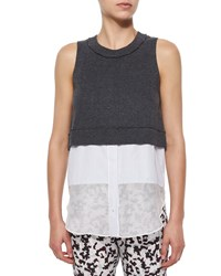 Derek Lam 10 Crosby Sleeveless Jersey Layered Tank Size 12 Dark Grey Melange